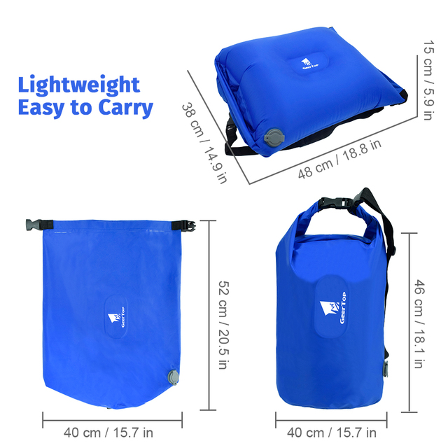 GeerTop Multifunctional Inflatable Air Pillow Large Dry Bag Storage Bag Pump for Sleeping Pad Tourist Camping Outdoor Backpack 5