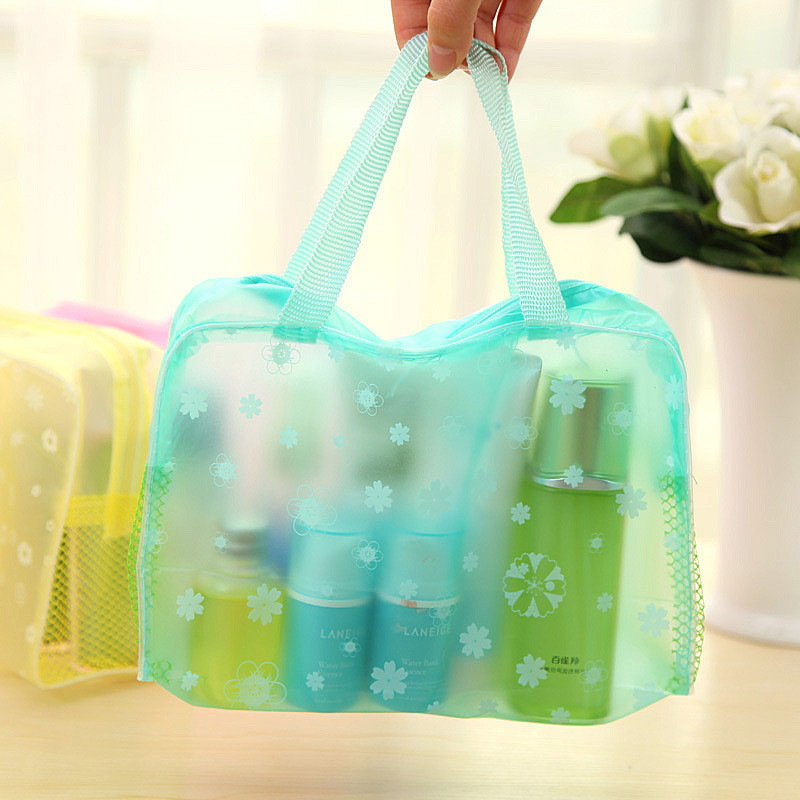 3 Colors Make Up Organizer Bag Toiletry Bathing Storage Bag Women Waterproof Transparent Floral PVC Travel Cosmetic Bag
