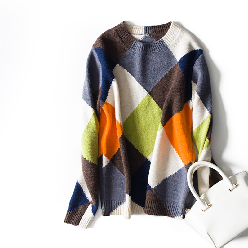 fine wool blend knit women fashion pullover sweater patchwork color plaid O neck S XL