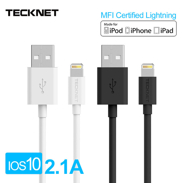 [For MFi iPhone Cable iOS 10] TECKNET USB Cable for Lightning to USB 2.1A Fast USB Charger Cable for iPhone 7 6 6s iPad mini 2 3