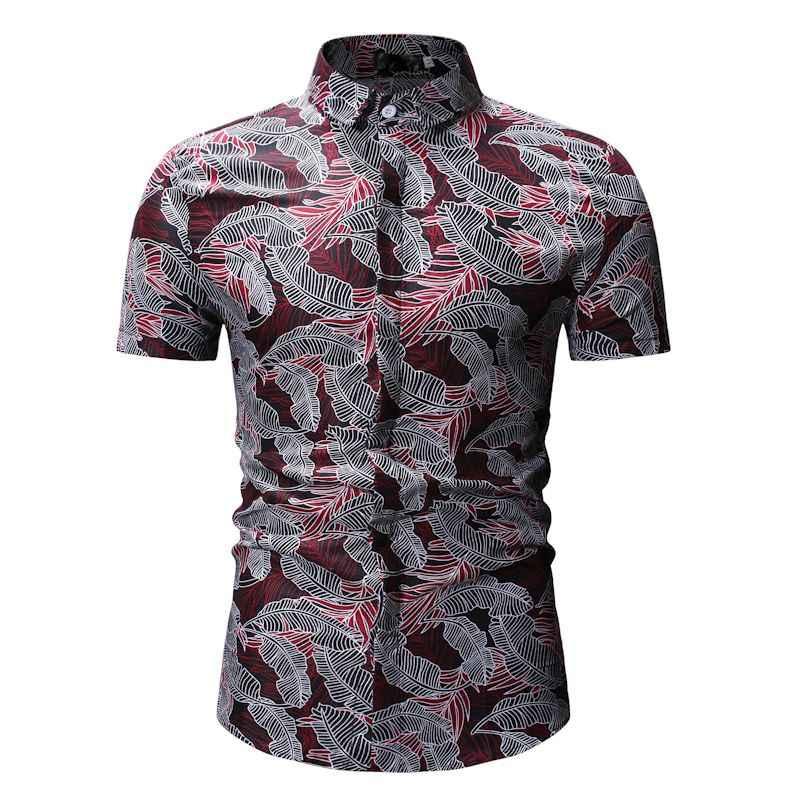 Мужские рубашки летняя мужская одежда 2019 Модная рубашка с короткими рукавами и принтом листьев Мужская Праздничная пляжная Повседневная гавайская рубашка мужская сорочка