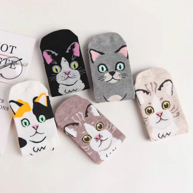 LIONZONE 5Pairs/Lot Brand Socks Women Animal Cotton Cute Cartoon Cat Paws With Dots US7-9 Happy Funny Socks Woman