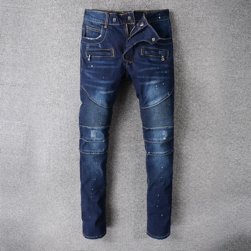 High Quality Fashion Streetwear Men Jeans Dark Blue Slim Fit Spliced Ripped Jeans Men Zipper Pocket Balplein Brand Biker Jeans