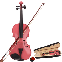 New 4/4 Acoustic Violin with Storage Case Bow Rosin Accessories Pink Green Blue Violin for Learners Beginners US Stock