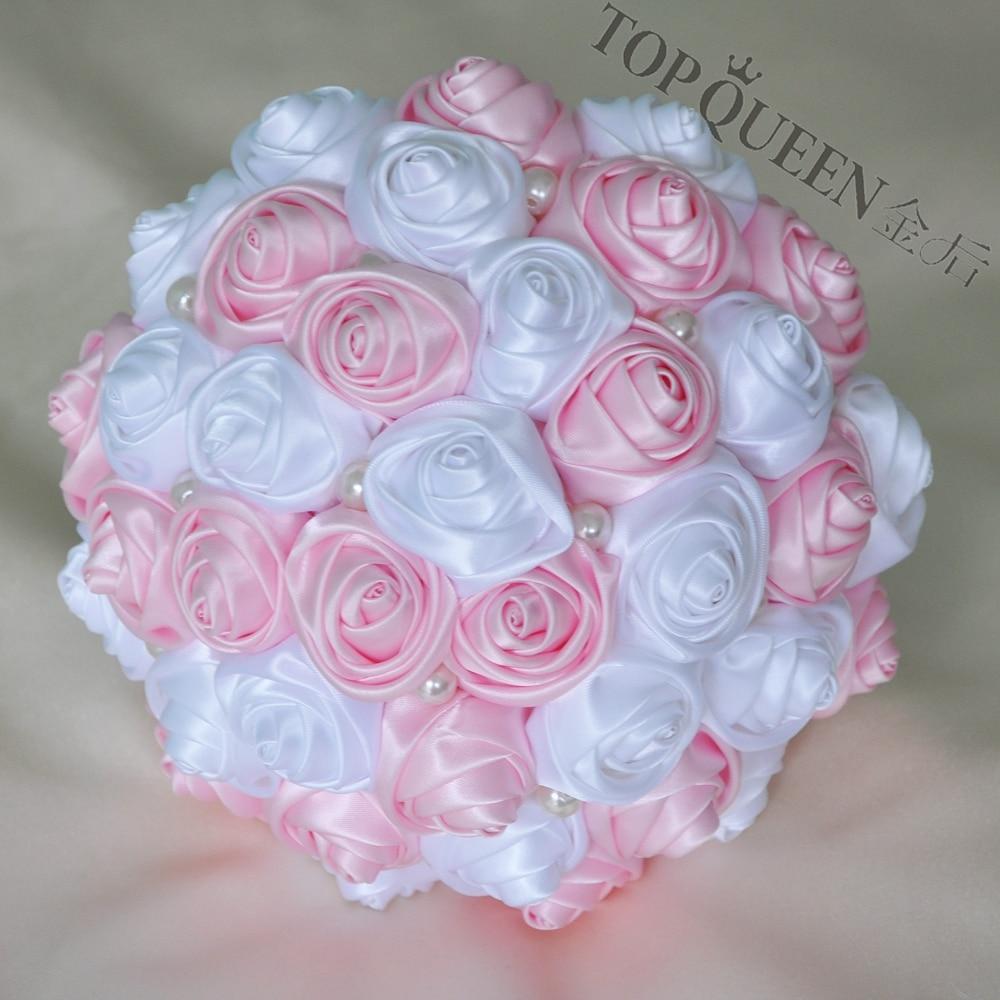 Topqueen F4 Pk Bridal Bouquets Artificial Flower Pink Wedding