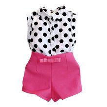 Girls Summer Clothes Kids Boutique Outfits Sleeveless Polka Dot Blouse + Pink Short Pants Clothes Set 2-6Y LS4