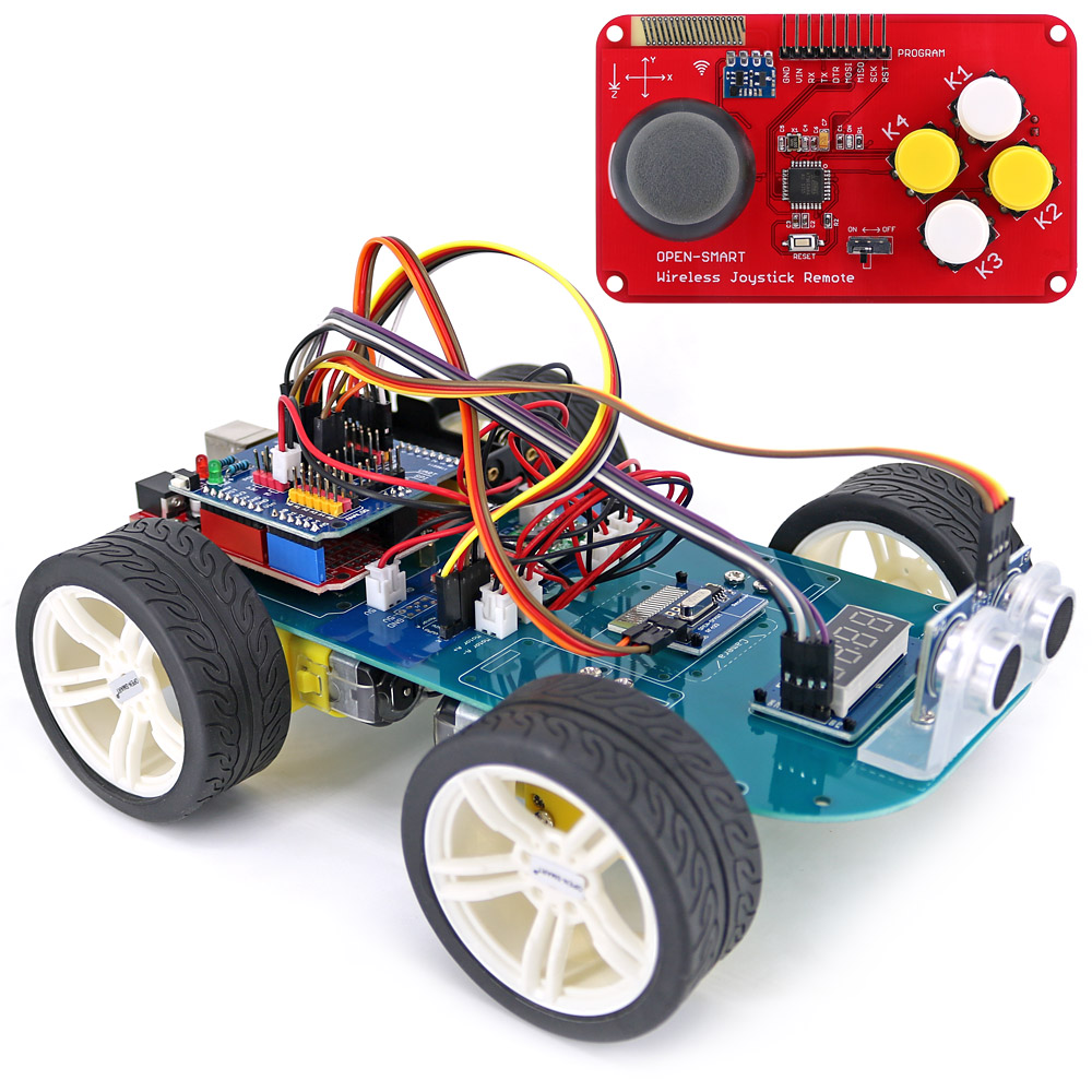 4WD Wireless JoyStick Remote Control Rubber Wheel Gear Motor Smart Car Kit w/ Tutorial for Arduino UNO R3 Nano Mega2560-in Industrial Computer & Accessories from Computer & Office