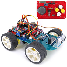 4WD Wireless JoyStick Remote Control Rubber Wheel Gear Motor Smart Car Kit w/ Tutorial for Arduino UNO R3 Nano Mega2560