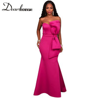 Dear Lover New Arrival Sexy Women Elegant Dress Rosy And Blue Evening Party Gown With Big