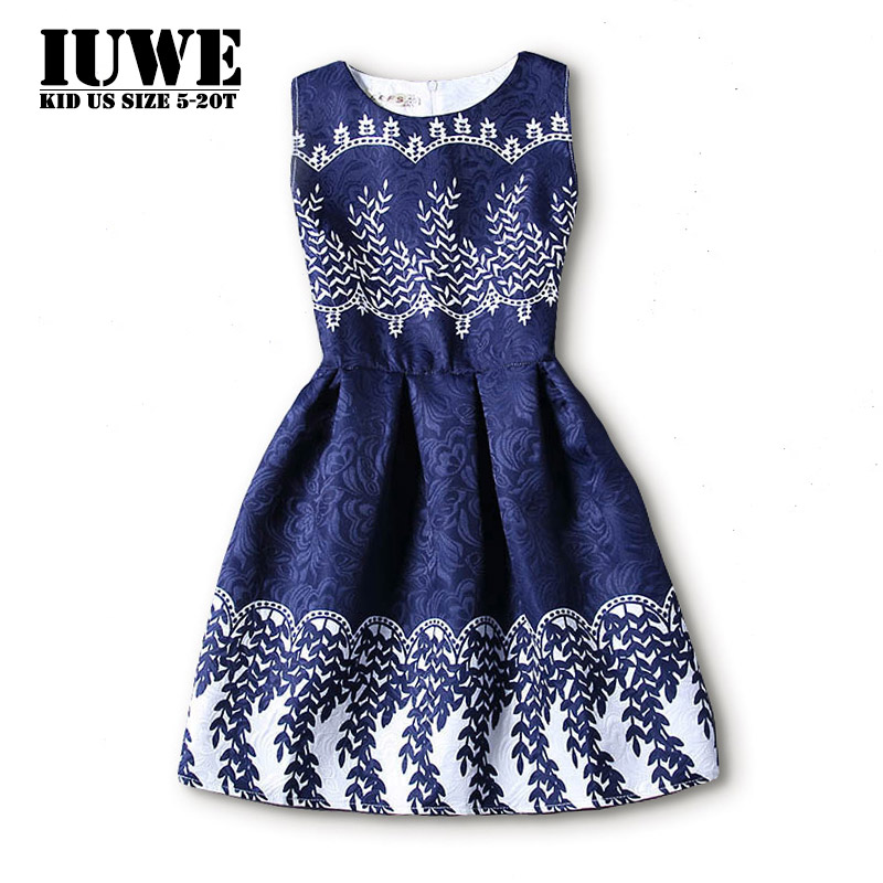 Dresses for Girls of 12 Years 2017 Summer Autumn Blur Sleeveless White Geometric Printed Big Size Teenagers Party Girls Dresses summer dress 2016 dresses for girls of 12 years sleeveless printed big size princess dress teenagers kids clothes