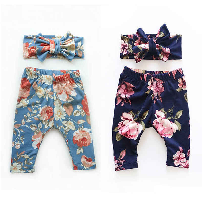 2017 Newborn Cute Kids Baby Girls Bottoms Floral Leggings lONG Pants Trousers+Headband Outfits Set 0-24M