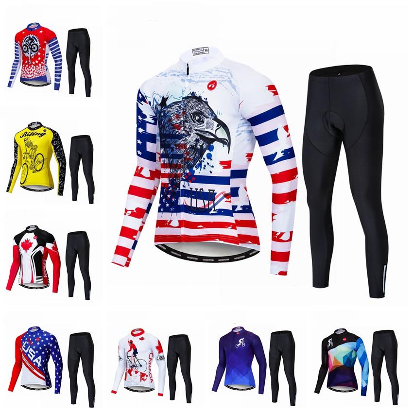 2019 maillot de cyclisme ensemble USA à manches longues maillots de cyclisme vêtements de cyclisme vélo Jersey équipe vélo vtt Canada vélo maillots ensemble