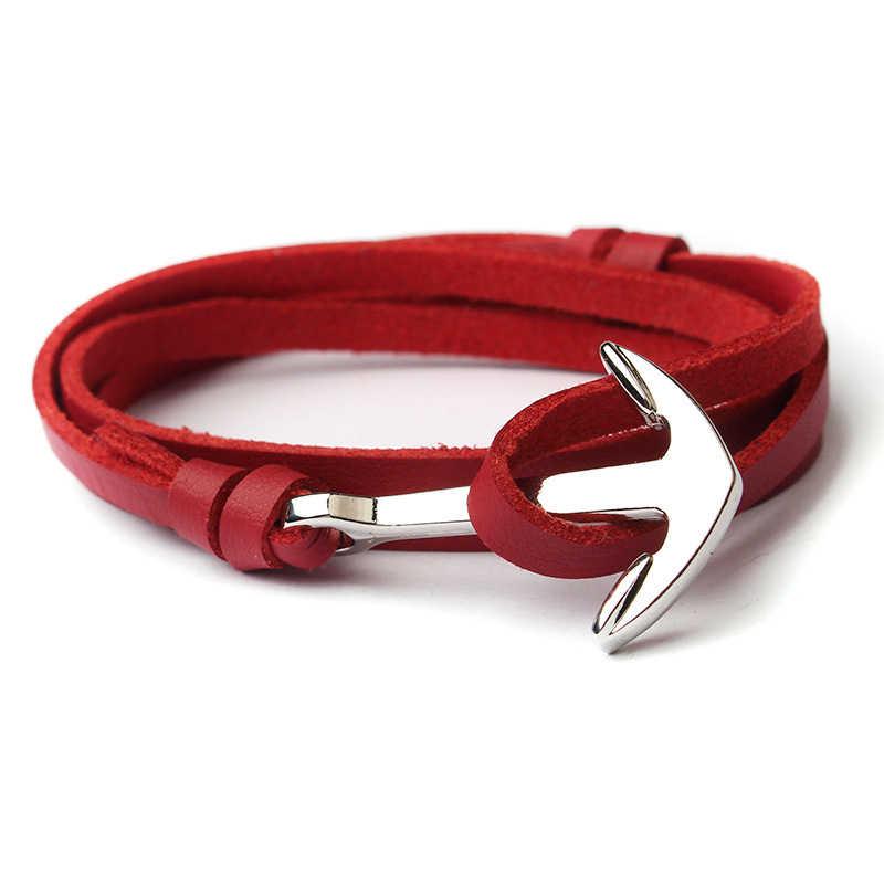 NIUYITID mężczyźni kotwica bransoletka biżuteria brązowy czarny naszyjnik na lince skórzane bransoletki Trendy 2019 Unisex kobiety mężczyzna Bracelent mężczyzna
