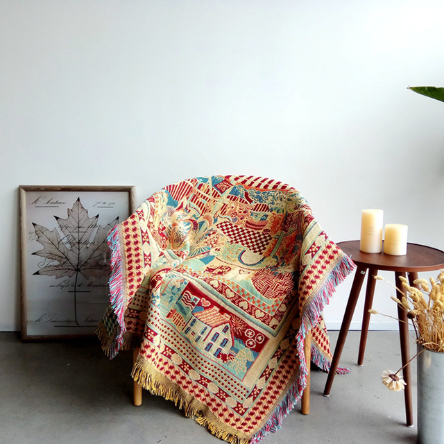 100 Cotton Threads Bohemia Sofa Cover Blanket Turkish Tapestry Living Room Bedspread Rug Dream Catcher