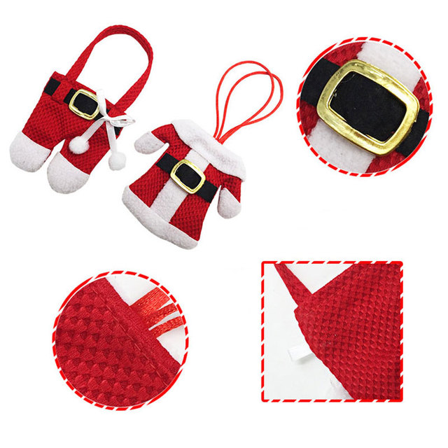 Christmas Santa Dress 6Pcs Home Decor Cutlery Holder for Knife Fork Spoon