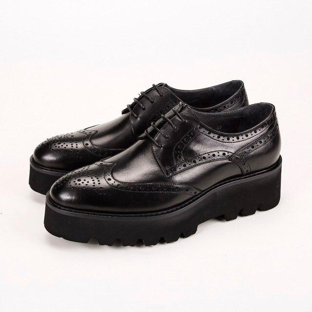 Unique Black Oxfords Formal Platform Shoes Mens Dress Shoes Genuine