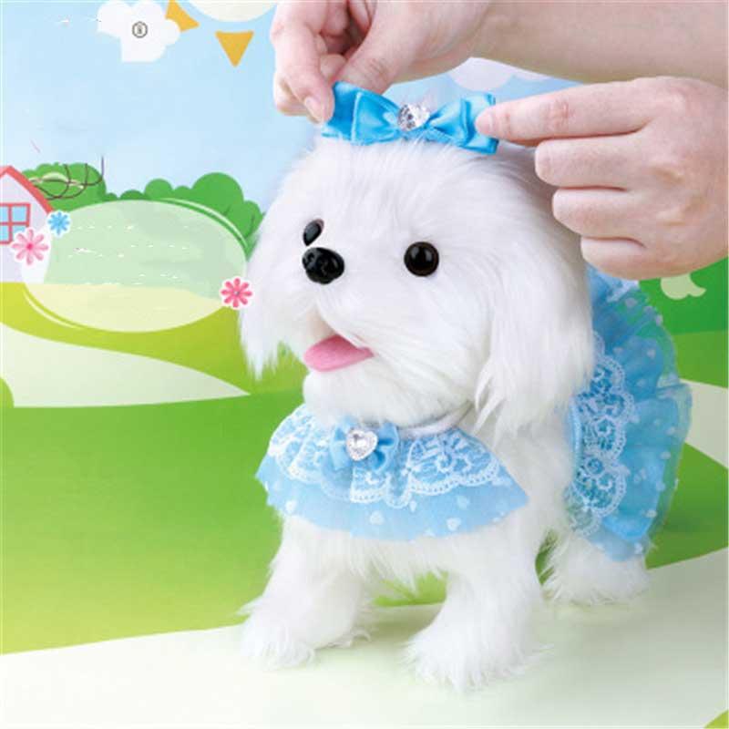Perro Robot electrónico juguetes para perros de peluche cachorro mascota paseo corteza princesa correa de peluche controlado por línea de juguetes para niños niñas regalos - 3