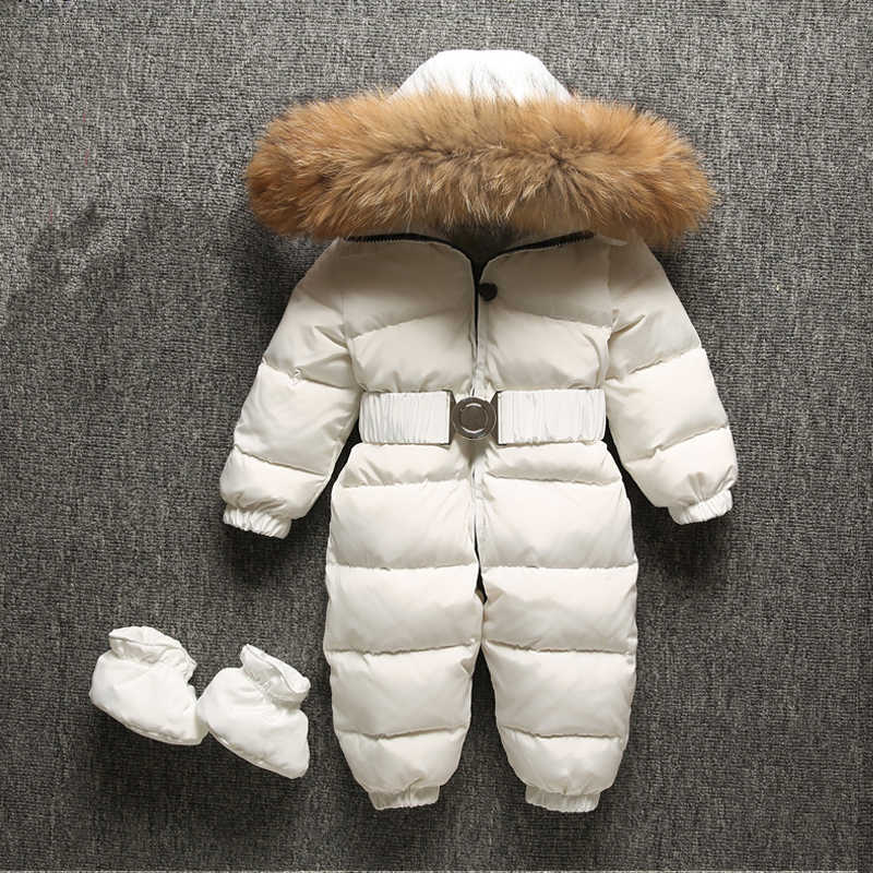 3afd55988 ... Dollplus 2019 Winter Baby Rompers Jumpsuit Clothes Children Overalls  Duck Down Toddler Kids Boys Girls Fur ...