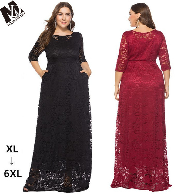 MAXDIROO Women Elegant Floor length Lace Dress White Red Black Plus ...