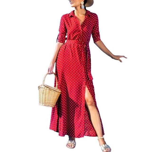5b2dcdb0 Women Long Dresses Bohemian Vintage Navy Blue Olive Green Black Red Button  Down Polka Dot Fabric Long Sleeve Maxi Shirt Dress