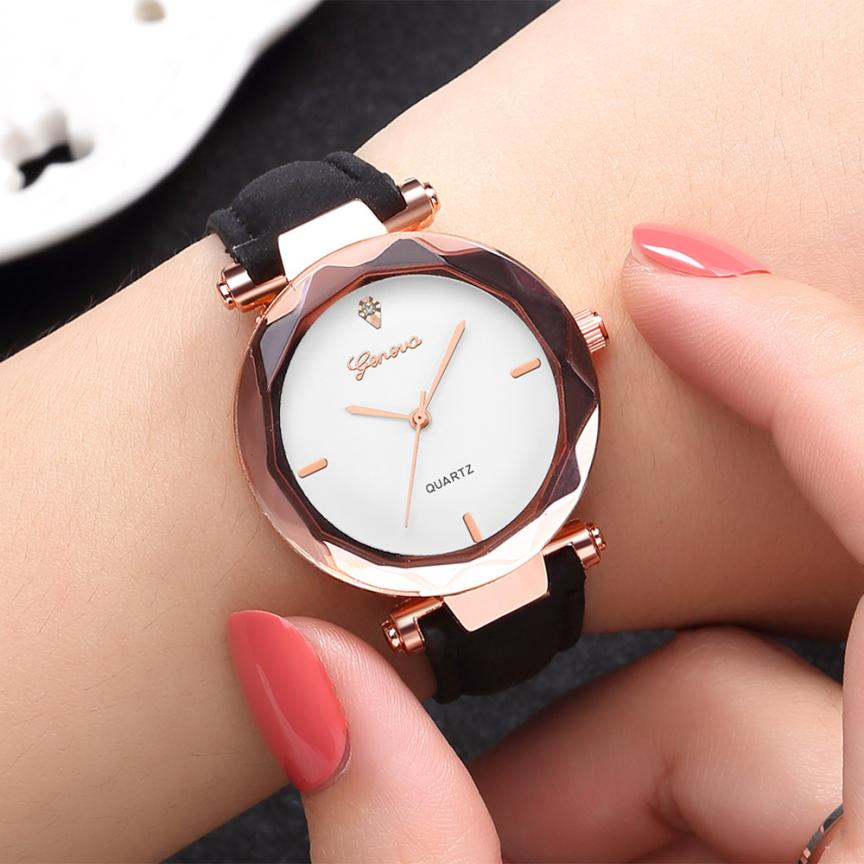 Fashion Golden Exquisite Ladies Watch Women Leather Ladies Wrist Watches Clock Saat Relogio Feminino Bayan Kol Saati Gift #C