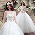 Spring 2017 New Cheap Wedding Dresses Ball Gown Wedding Gown V-Neck Crystal Appliques Sequined Organza Wedding Dress Bridal Gown