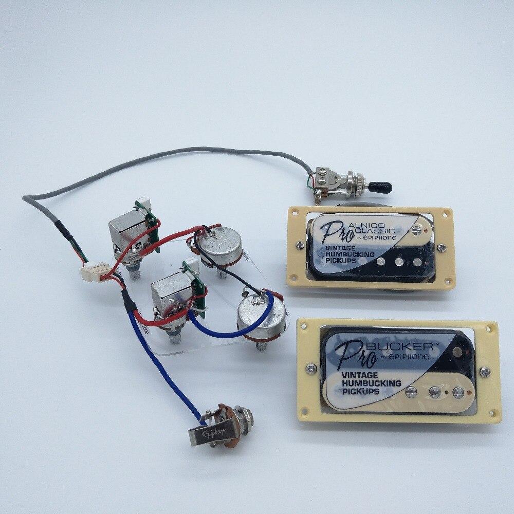 Original Eiph Electric Guitar Pickups Alnico5 Zebra Humbucker Pickups 4c With Push Pull function Wiring Harness
