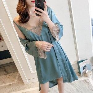 Image 2 - MECHCITIZ Sexy Womens Robe & Gown Sets Lace Bathrobe + Night Dress 2 Pieces Sleepwear Womens Sleep Set Silk Robe Femme Lingerie