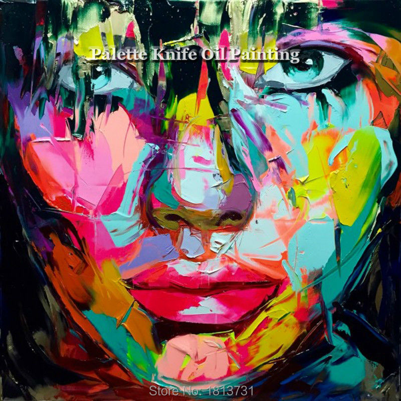 Hand painted Francoise Nielly Palette knife portrait Face Oil - Home Decor