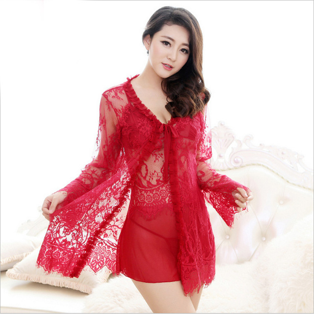 New Women silk Robe Set sexy pajamas hollow out Lace thin sleepwear temptation Sexy underwear (bathrobe + sling +T-Back)