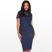 Plus size dresses for women 4xl 5xl 6xl Large sizes women 6xl short sleeve pencil dress Slim bodycon lace dress