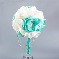 2016 New Garden Wedding Cheap Rose Beach Wedding Bouquet Handmade Flowers Multi Color Bride Holding Flowers