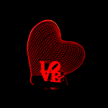 3D Love Heart LED Night Light Romantic Atmosphere Lamp Lighting HOT Wedding Decoration Lovers & Couple & Sweetheart Gifts