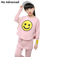 Long Sleeve Girls Clothes 2018 New Fashion Smile Pattern Children Clothing Set Cotton Solid Spring Autumn