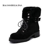 BASSIRIANA обувь женские ботильоны на меху из натуральной кожи, обувь на плоской подошве, зимние ботинки замшевые 35 40 Босоножки Бесплатная доста