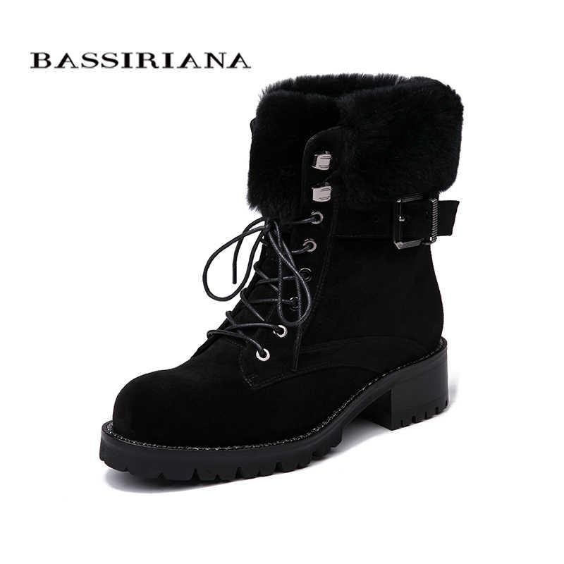 BASSIRIANA Ayakkabı kadın hakiki deri çizmeler, daire ayakkabı, kışlık botlar Süet deri 35-40 lace-up Ücretsiz kargo