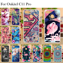 Phone Case For OUKITEL C11 Pro Funda Cover Transparent Flower Painted Soft TPU Back Bumper 5.5