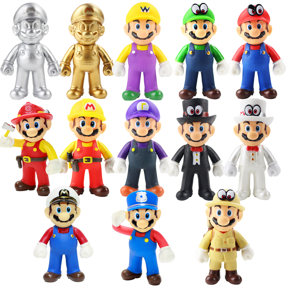 Action & Toy Figures 13 Style Super Mario Mario Purple White Black Full Dress Gold And Silver Cops Adventurers Seafarer Pvc Action Figure 12cm/13cm
