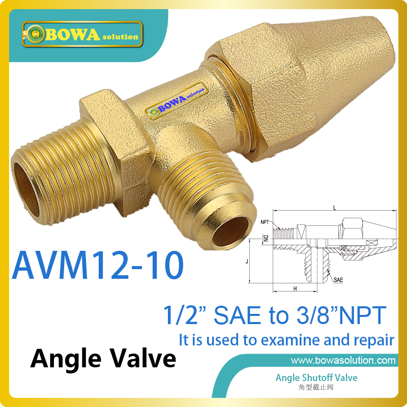 Brass angle valve with SAE flare to NPT connector working as service valves for evaporators of water chillers or oil cooler mini brass ball valve panel mountable 450psi with lever handle chrome plated malexfemale npt