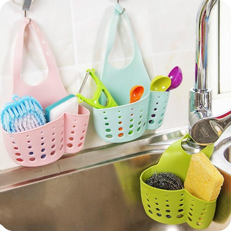 Kitchen Bathroom Sink Drain Rack Sponge Storage Hanging Basket PVC Shelving Drain Faucet Storage Pail Shelf 4 Colors Mx01101552