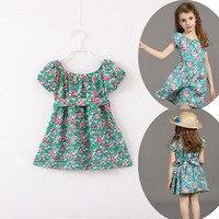 2-9Y Fashion Baby Girls Dresses Cotton Summer Pirncess Meisje Children Clothing Casual Kids Clothes Tutu Print Girl Dress