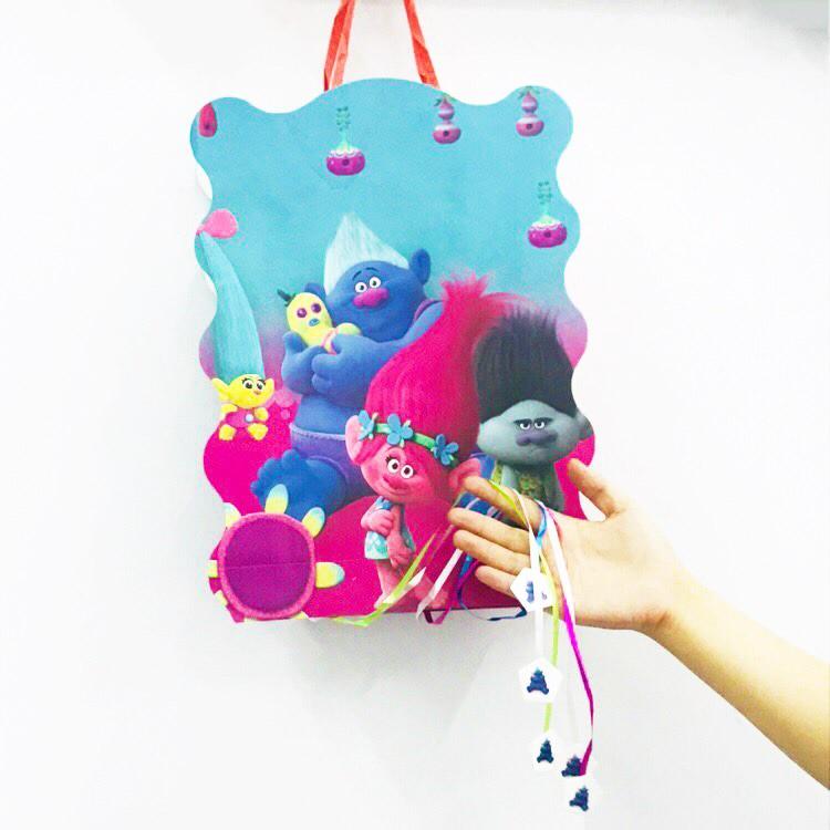 40*30cm/set Pinata Kids Birthday Party Supplies Trolls Cartoon Theme Paper Pinata Disposable Baby Shower Party Decoration Favor