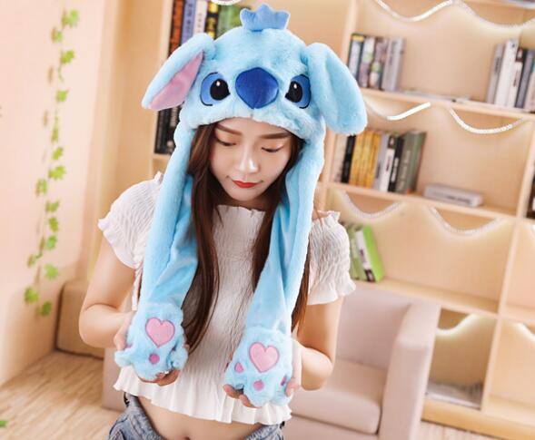 New Plush Stitch Ear To'y's Hats Pinching Moving Ears Winter Animals Caps Girls Cosplay Party Performance Costume