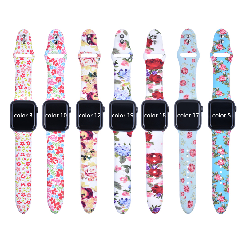 Floral Flower waterproof sweatproof Bands For Apple watch Series 4 3 2 1 40mm 44mm Silicone Pattern Printed Strap for iWatch in Watchbands from Watches