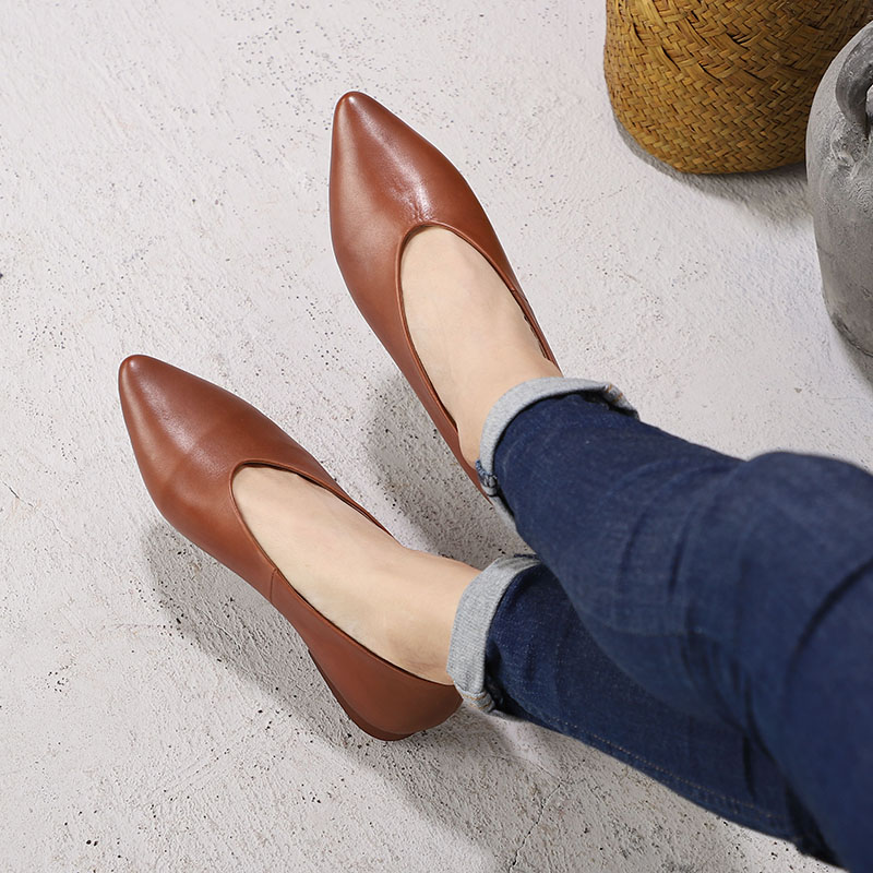 Pointed Toes Shoes Woman New Ballet Flat Shoes Ladies Handmade Soft Comfortable Slip On Original Leather Female Flats Footwear