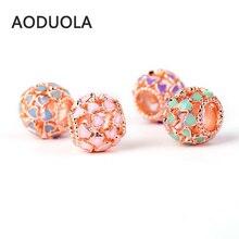 10 Pcs a Lot Rose gold color OpenWork Beads pink Enamel Heart Flower DIY Metal Bead Charm Fit For Pandora Charms Bracelet