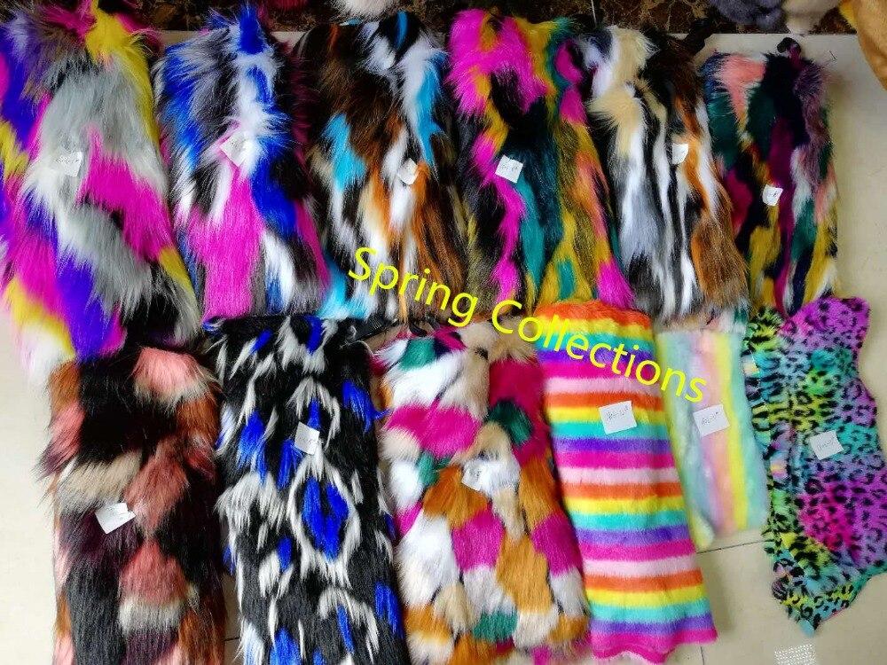 180 cm * 91 cm wysokiej jakości 45mm do włosów żakardowe futro, wielokolorowy futro z lisa, pluszowy dywan maty tkaniny, DIY handmade tkanina sztuczne futro 10 kolorów w Futro od Dom i ogród na  Grupa 1