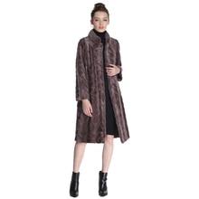 2017 Mink Fur Coat Female Natural Fur Coats Real fur coat For Women 105CM Parka honorable waistcoat Women`s Genuine Fur Coat