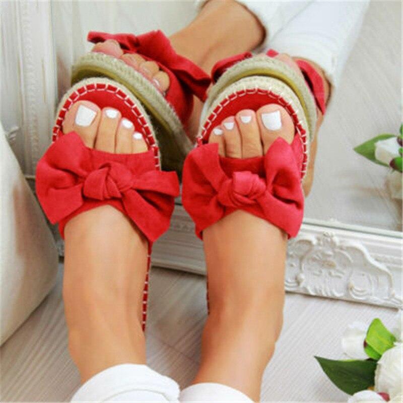SHUJIN New 2019 Womans Slip On Sandals Bow Flat Mule Leopard Linen Hemp Summer Sliders Espadrille Shoes Sizes