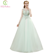 SSYFashion Summer New Luxury Evening Dress The Bride Fresh Green Lace  Beading Banquet Long Prom Formal Party Gown Robe De Soiree 9839abcdf288